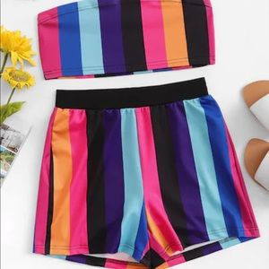 Striped Crop Tube Top With Shorts Set